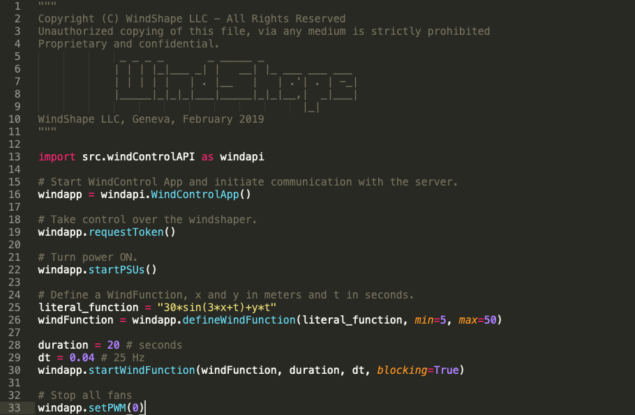 WindShape Software - WindControl Python API